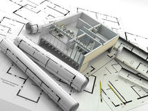 Construction. Renewables. Real Estate in Europe and USA. A house under construction on the plans following established protocols for responsible energy Stock Image