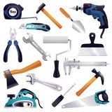 Construction Renovation Carpentry Tools Set. Building construction renovation remodeling realistic carpentry woodwork tools set with axe claw hammer saw Stock Photography