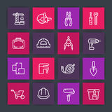 Construction and renovation line icons set Royalty Free Stock Photos