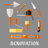 Construction and renovation tools flat icons Stock Photography