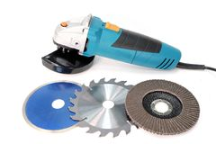 The angle grinder. Construction and repair. Angle grinder Royalty Free Stock Photos