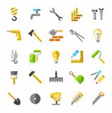 Construction and repair, color icons. Stock Photos