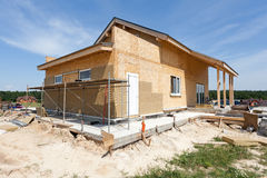 Construction or repair of  house with insulation, eaves, windows, garage,chimney, roofing, fixing facade and plastering. Construction or repair of  house with Royalty Free Stock Images