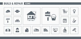 Construction icons set 01 vector illustration