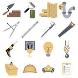 Construction repair tools icons symbols vector illustration Royalty Free Stock Photography
