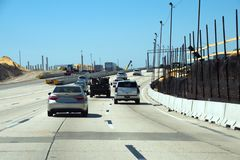 Repair of highways. Construction, repair of a traffic intersection, a bridge stock images