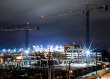 Construction of Research Building - University of Kentucky - Lexington, Kentucky. A long exposure view at night of construction at the Chandler Medical Center on royalty free stock images