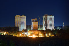 Construction of residental buildings at night Royalty Free Stock Photography