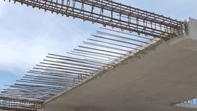 Construction of residential building. Close up of reinforcement concrete. Industry construction and development.. Construction of residential building. Close up stock video footage