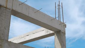 Construction of residential building. Close up of reinforcement concrete. Industry construction and development. Construction of residential building. Close up stock footage