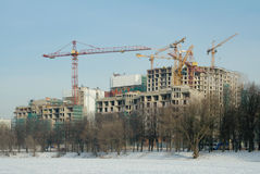 Construction of residential complex, Moscow, Russia Stock Photos
