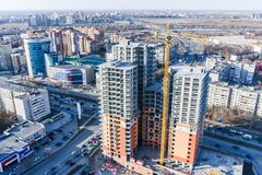 Construction of residential house in Tyumen Royalty Free Stock Photography