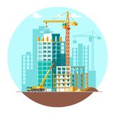 Construction of residential houses. Construction site concept design. Flat style vector illustration. Royalty Free Stock Photos