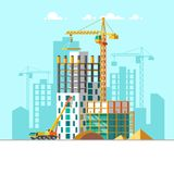 Construction of residential houses. Construction site concept design. Flat style vector illustration. Stock Photos