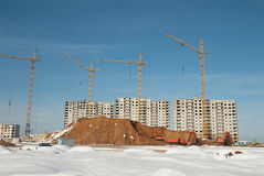 Construction of residential in suburbs of Moscow Royalty Free Stock Images