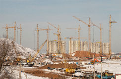 Construction of residential in suburbs of Moscow Royalty Free Stock Photography