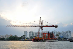 Construction in the river. Construction in the Chaophraya river, thailand Royalty Free Stock Photos