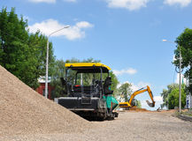 Construction of the road. Road construction equipment for road construction. Russia stock images