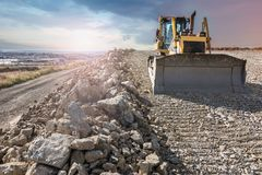 Construction of a road. Earth movement royalty free stock photo