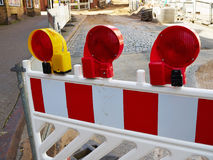 Construction road work side warning light lamps stock images