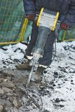Construction road works with jack hammer royalty free stock images