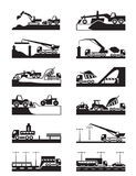 Construction of roads, bridges and tunnels. Vector illustration royalty free illustration