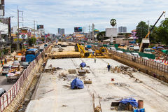 Construction of roads to improve travel and digging up the basement in Pattaya in Thailand in 2016. Stock Image