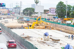 Construction of roads to improve travel and digging up the basement in Pattaya in Thailand in 2016. Royalty Free Stock Photography