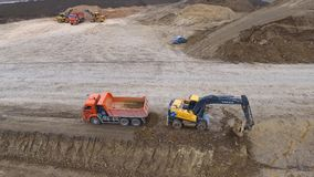 Construction of roads and transport pipelines. Site construction royalty free stock photos