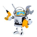 Construction robot with tools. . Contains clipping path stock illustration