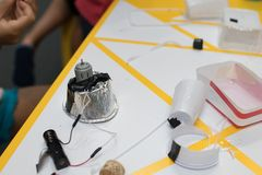 Construction of a robot from waste materials. STEM activities for children on technology, electronics, robotics and circular econ. Omy. Recycling of waste royalty free stock photos