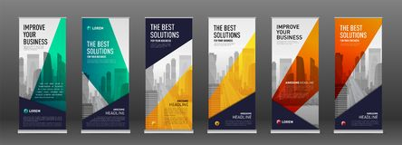 Construction roll up banner design templates set. Abstract geometry with colored cityscape vector illustration on background royalty free illustration