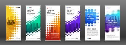 Construction roll up banners design templates set. Vertical banner for event with skyscrapers vector illustration on background royalty free illustration