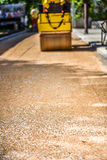 Construction roller or steamroller during road construction. Asp Royalty Free Stock Images