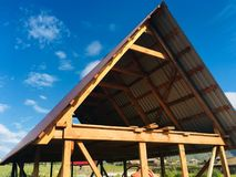 The construction of the roof stock photography