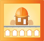 Construction and safety. Sign with houses and main house in hands Stock Photography