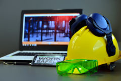 Construction safety concept . Set of safety work wear construction site .Safety concept Royalty Free Stock Images