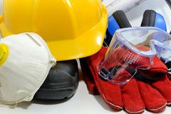 Construction safety equipment. Construction worker - safety equipment on white Royalty Free Stock Image