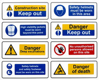 Construction Health Safety Danger Warning Signs. Eight different construction health and safety hazard danger warning signs on a white background stock image