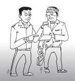 Construction safety issue. Hand drawn illustration of a supervisor talking with a construction worker about safety issues vector illustration