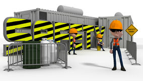 Construction safety scene. Illustration of construction workers in front of a workplace with a safety first sign, white background vector illustration