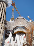 Construction at Sagrada Familia Barcelona. Construction work being done on the landmark attraction of Sagrada Familia in Barcelona Spain Stock Photography