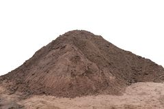 Wet pile of building sand isolated on white background. Construction sand pile isolated on white background stock photo