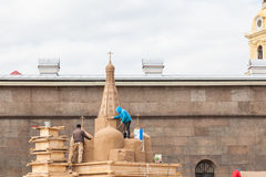 Construction of sand sculptures Royalty Free Stock Image