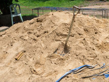 Construction sand with shovel Royalty Free Stock Images