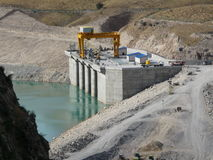 The construction of the Sangtuda hydropower plant in Tajikistan. Construction of hydroelectric power station in the city of Sangtuda in Tajikistan Royalty Free Stock Photos