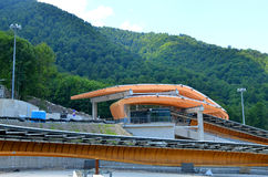 Construction of Sanki Luge Center for Winter Olympics 2014. SOCHI, RUSSIA - JULY 10: Construction of Sanki Luge Center for Winter Olympics 2014 on July 10, 2013 Stock Photography