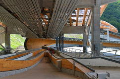 Construction of Sanki Luge Center for Winter Olympics 2014. SOCHI, RUSSIA - JULY 10: Construction of Sanki Luge Center for Winter Olympics 2014 on July 10, 2013 Stock Photo