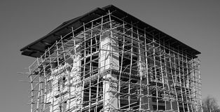 Construction scaffolding in Thimphu Stock Image