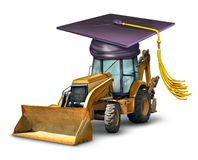 Construction School. And industrial machinery equipment training with a bulldozer wearing a graduation cap or mortar board as a symbol of professional Royalty Free Stock Photos